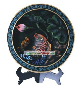 Chinese Hand Carved Healthy Active Carbon Round Plate-Fish