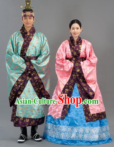 4dcdcfbed Traditional Korean Handmade Formal Occasions Embroidered Wedding Costume,  Asian Korean Apparel Bride and Bridegroom Hanbok Clothing Complete Set