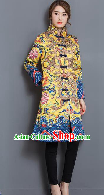c92e6e906 Traditional Chinese National Costume Hanfu Yellow Cotton-padded Coat, China  Tang Suit Dust Coat for Women
